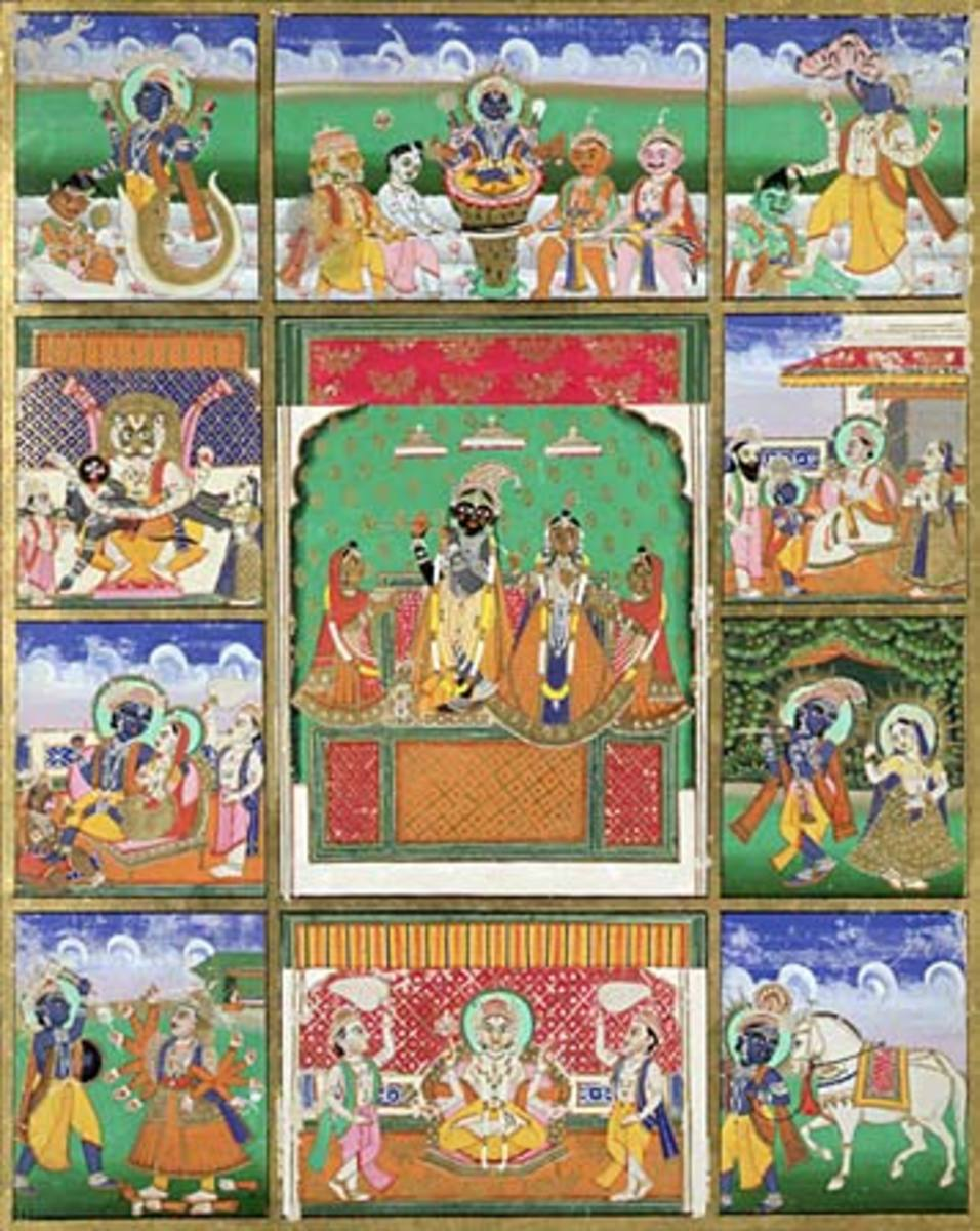 (Vishnu with his 10 avatars (incarnations): Fish, Tortoise, Boar, Man-Lion, Dwarf, Rama with the Ax, King Rama, Krishna, Buddha, and Kalkin. Painting from Jaipur, India, 19th century; Victoria and Albert Museum, London.