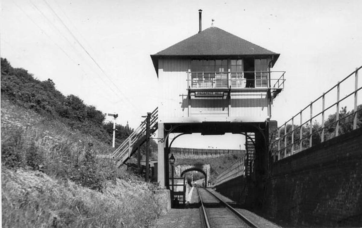 Prospect Hill, Whitby. Cabin straddles the junction of Whitby Redcar & Middlesbrough Union Railway (WR&MUR) with Scarborough & Whitby Railway (S&WR). Staff often kept locomotives waiting under the cabin for extra heat (stove wasn't that efficient)