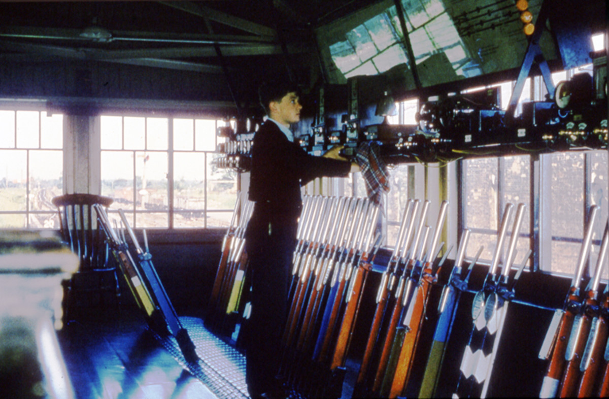 The real thing, a plethora of levers in a Western Region signal box, 1962