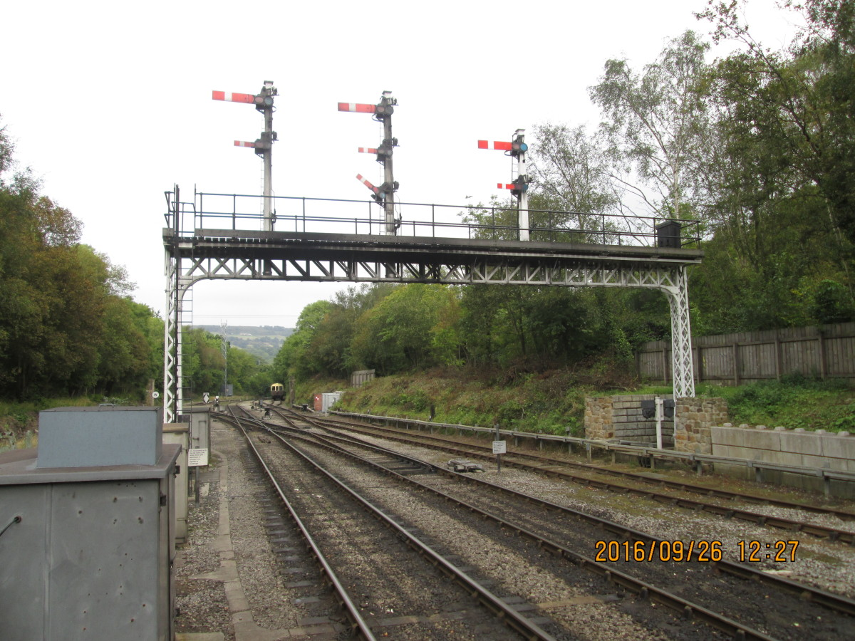 The re-configured gantry at Grosmont, facing the junction with the Whitby line with less 'dolls' than before