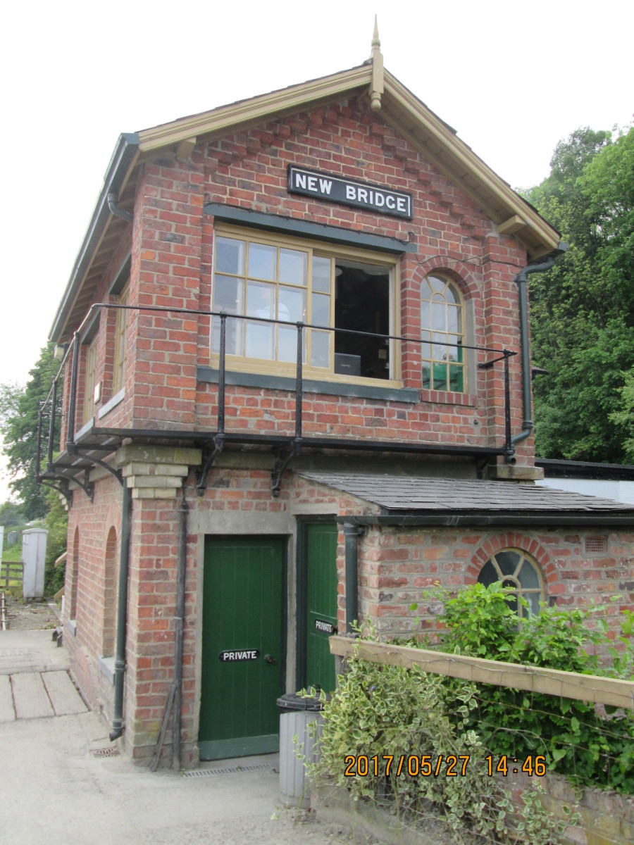The signal cabin above is this type, Southern Division, North Eastern Railway. There were several variants, this has a round-topped window at the end of the building on the operating floor towards the back (New Bridge, Pickering, NYMR)