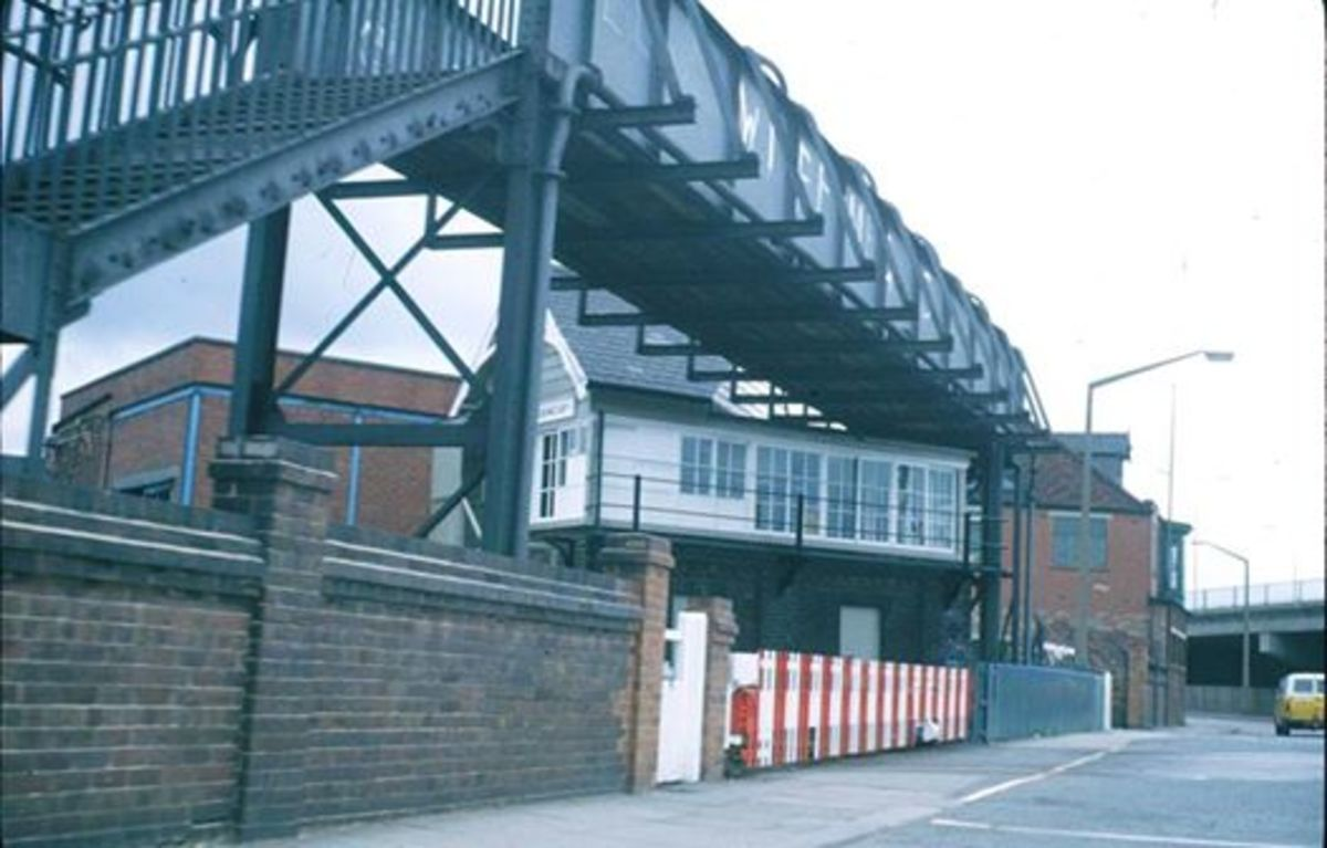North Ormesby near Middlesbrough, Footbridge over the railway lines on the Cargo Fleet Road interesects the cabin roof