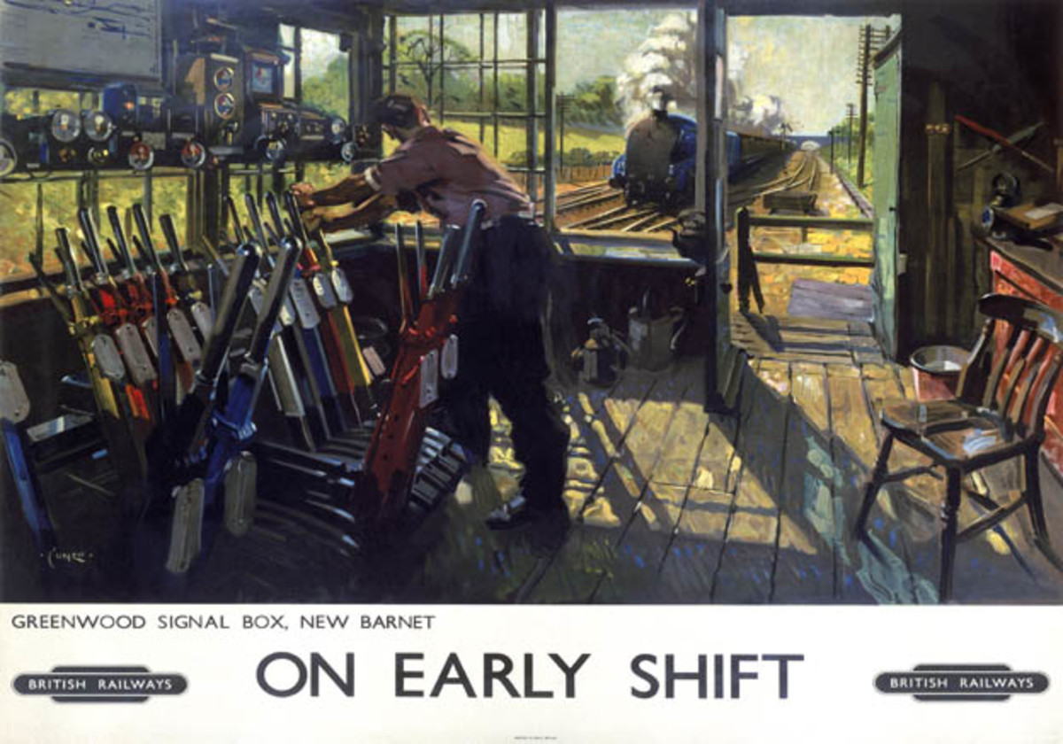 'On early shift' poster shows a Great Northern signal box on the outskirts of London - painted by railway artist Terence Cuneo
