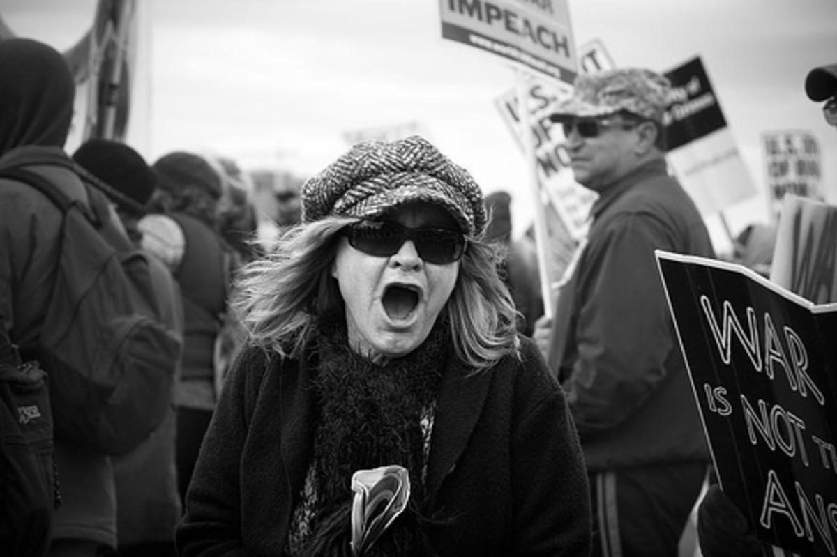 Vietnam Protestor Yelling