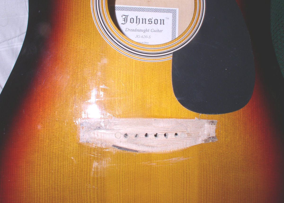 Guitar with bridge removed