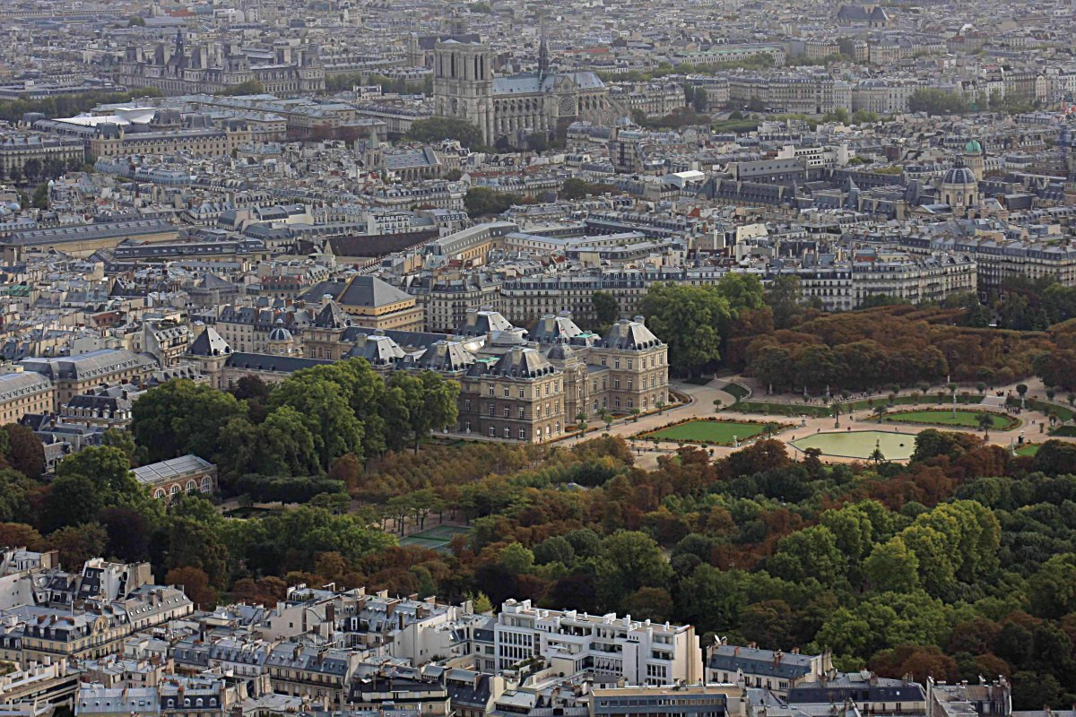 View from Montparnasse. This image  eastnortheast includes the Palais and Jardin du Luxembourg in the centre, and Notre Dame at the top