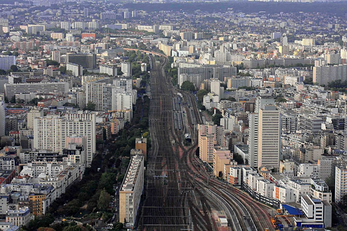 View from Montparnasse. This image to the south includes the junction of Gare Montparnasse, the train station serving the south of Paris