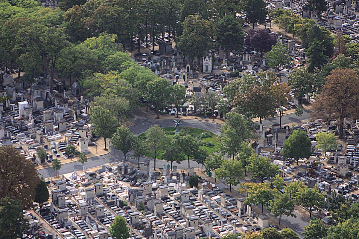 View from Montparnasse east to the Montparnasse cemetery, which includes the graves of Jean-Paul Sartre, Susan Sontag and Camille Saint-Saëns