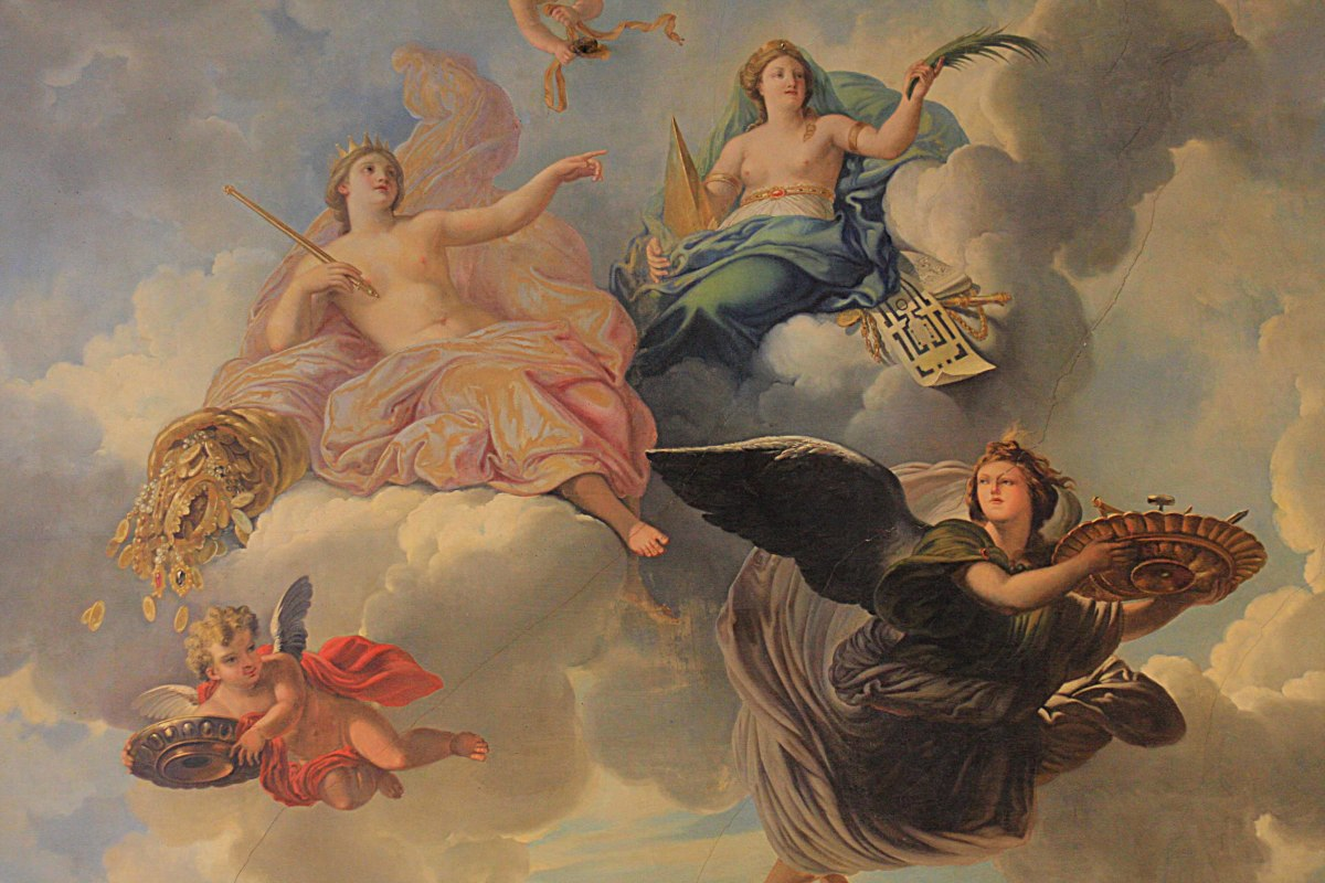' Abundance and Liberality' 1683. Ceiling painting from the Venus Room, created by Rene-Antoine Houasse. This is actually my favourite image from my time in Paris, due to the subtle beauty of the pastel shades. (All credit to M. Houasse - none to me)