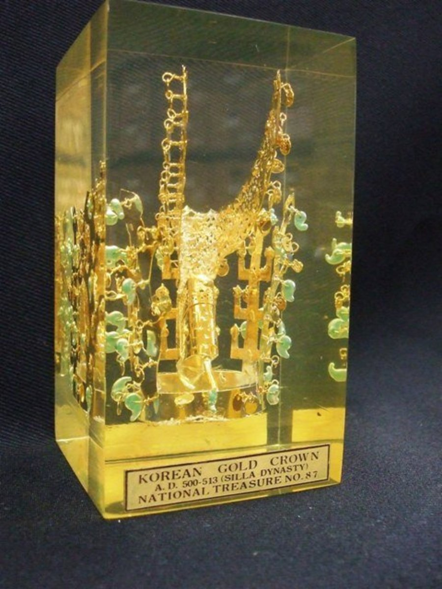 Korean Gold Crown A.D. 500-513 (Silla Dynasty), National Treasure No. 87. Collection: National Museum, Kyong-Ju, Korea.