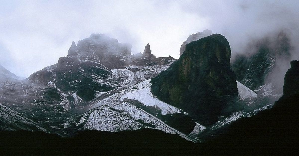 Mount Kenya aka Kirima Kiri Nyaga. What you are seeing is not snow and gracier - its the crown of the Kikuyu Deity. Image Credit: Mehmet Karatay via Wikimedia Commons