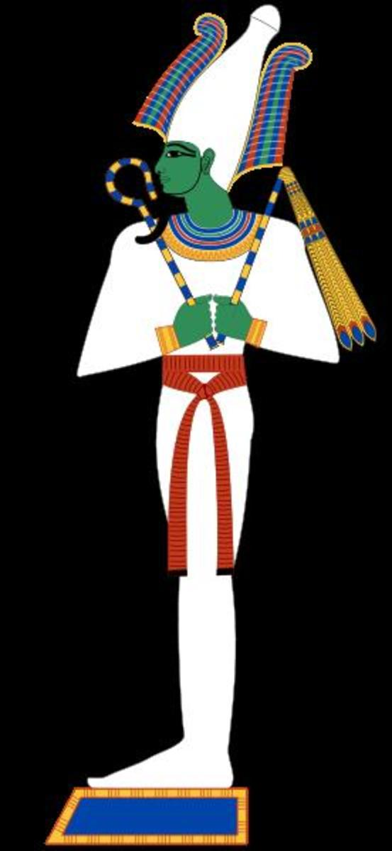 Osiris god of ancient Egypt. The crown to Osiris god is made of ostrich feathers. This god will give you life, sprouting vegetation and fertile land. Image Credit: Jeff Dahl via Wikimedia Commons