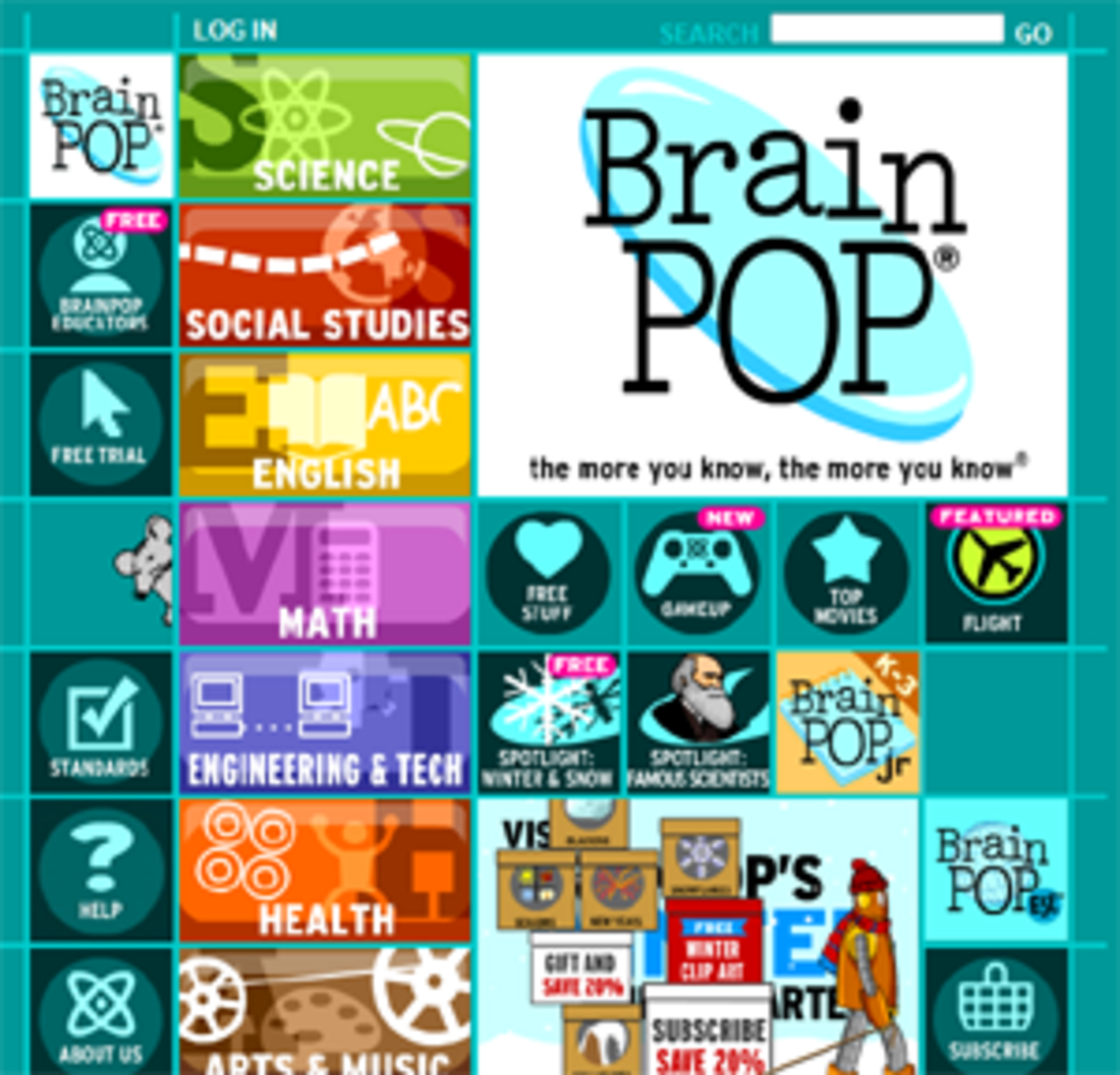BrainPop and BrainPopJr are general knowledge websites for kids that cover science, math, social studies and more.
