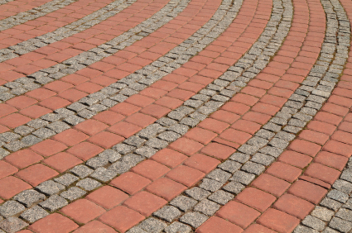 A Patio Pattern with Bricks and Stones