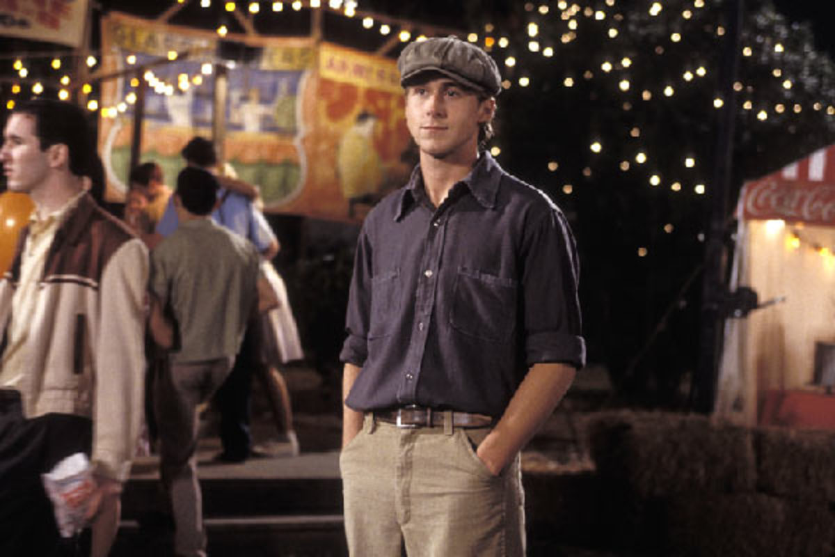 Button down shirts, khaki pants, and retro hats complete the Ryan Gosling Notebook look.