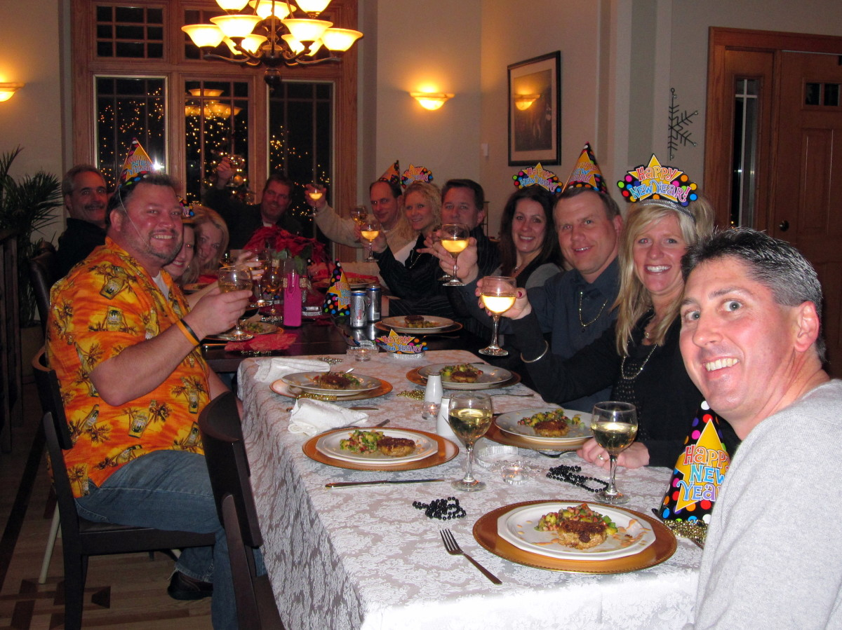 Toasting the first course of a New Year's Eve progressive dinner.