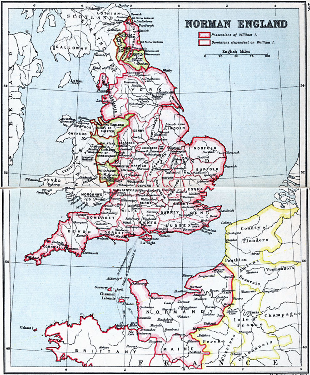 The earlier earldoms were divided up into 'manageable' chunks, shires were re-arranged, Norman, Breton, Flemish and Frankish barons, bishops and shire reeves were appointed by William