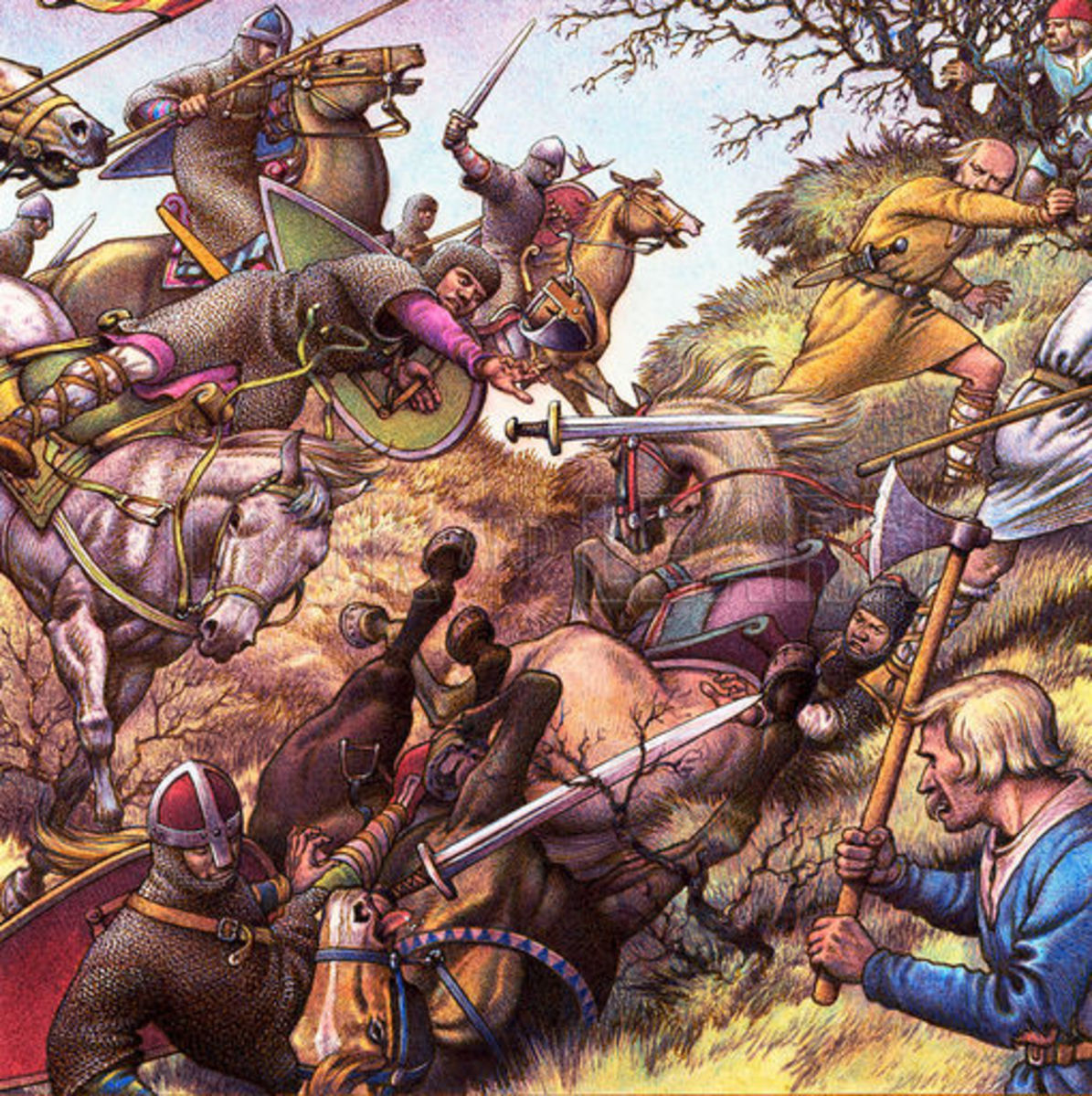 The Norman cavalry could be cornered or ambushed in woodland or confined spaces - one such clash took place at the side of Caldbec Hill where it dipped into a ravine. The ravine went nowhere and the Normans were trapped, losing many to arrows or axes
