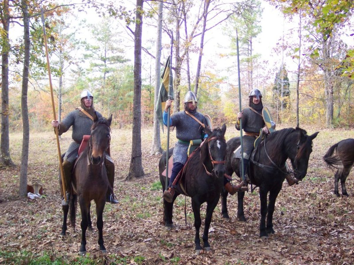 Three of a company of Norman cavalry known as a 'conroi'. No-one wanted to clash with them on open ground...