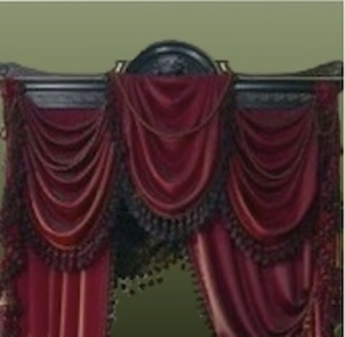 Portiére with decorative valance treatment
