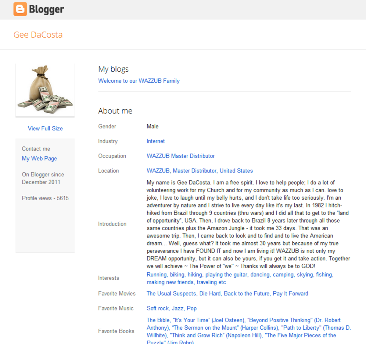 Gee DaCosta's profile on Blogger, part of his heywazzub.blogspot.com