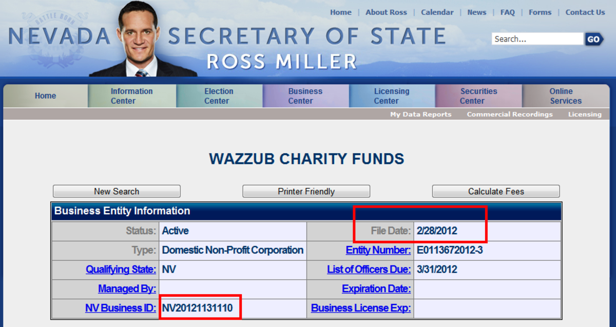 Nevada Secretary of State website, Wazzub Charity Funds was registered on February 28th, 2012, one MONTH after announcement.