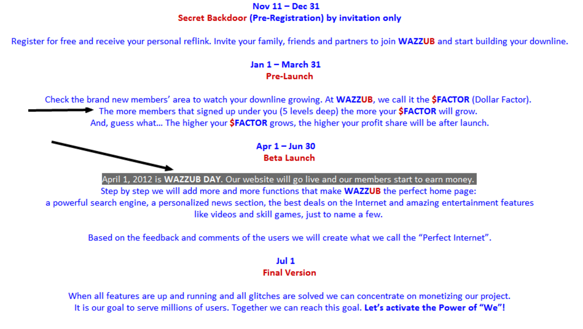 Hidden facts page, www.wazzub.info/facts.htm, original launch date is April Fool's Day, 2012!