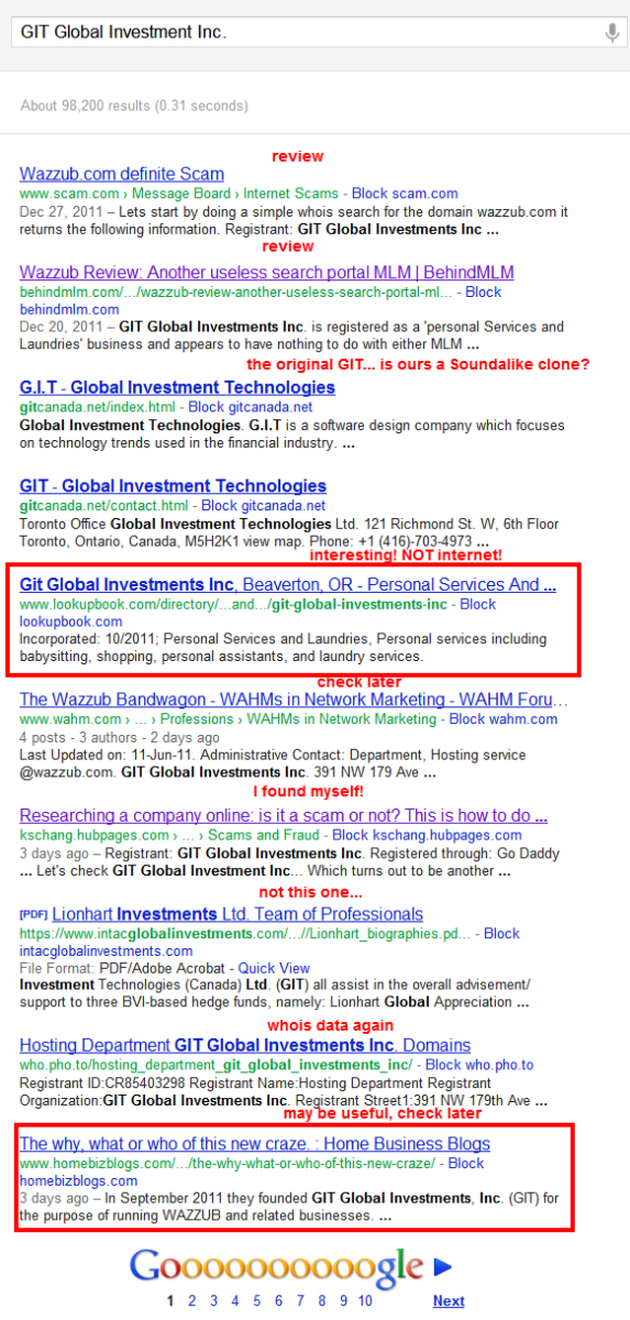 """Google search for """"GIT Global Investment Inc.""""... results, results... Two interesting ones."""