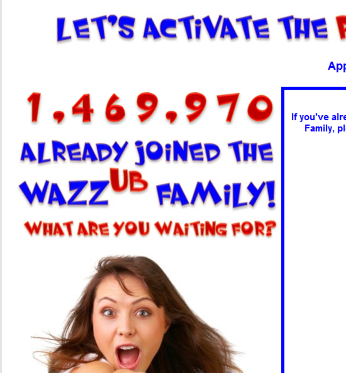 """""""X already joined the Wazzub Family"""", except X is a javascript counter, not a real membership counter"""