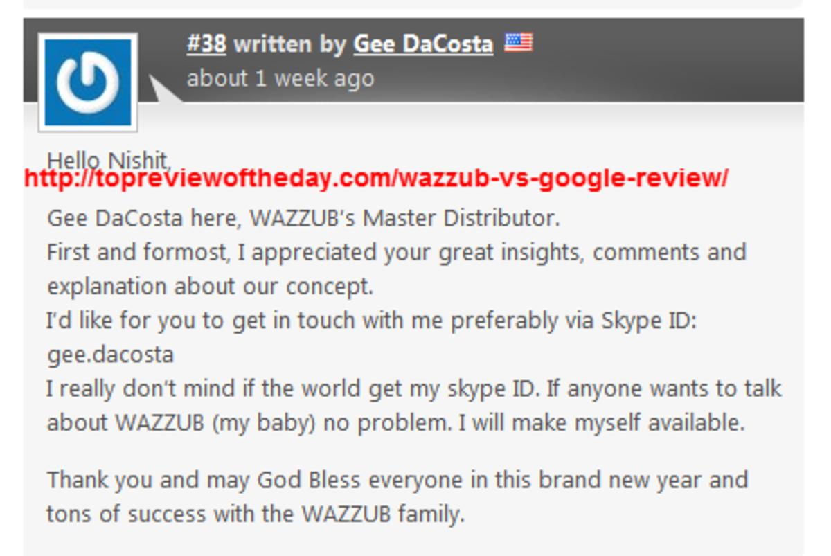 "DaCosta admitting Wazzub was ""his baby"""