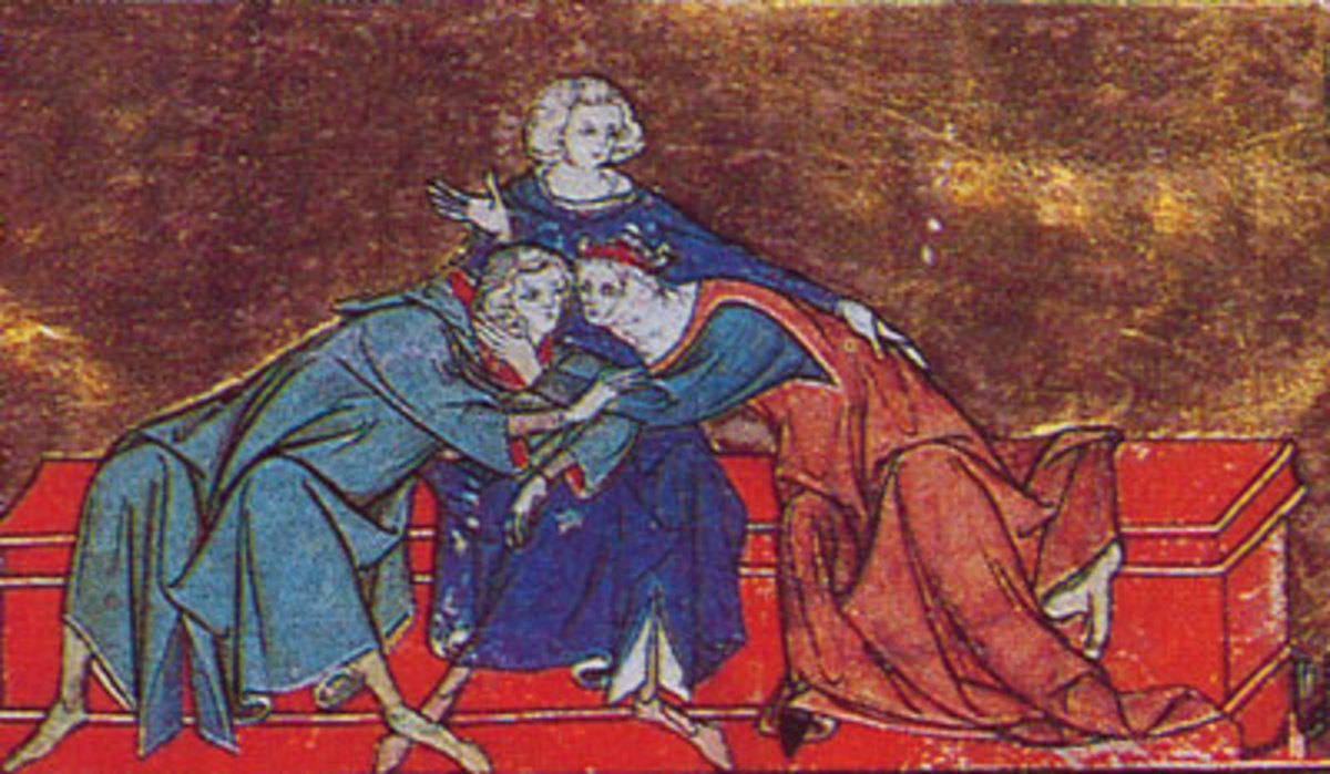 First kiss between Lancelot and Guinevere. Galehaut, who brought the two together, is in the center. Illustration from a manuscript of the Prose Lancelot.