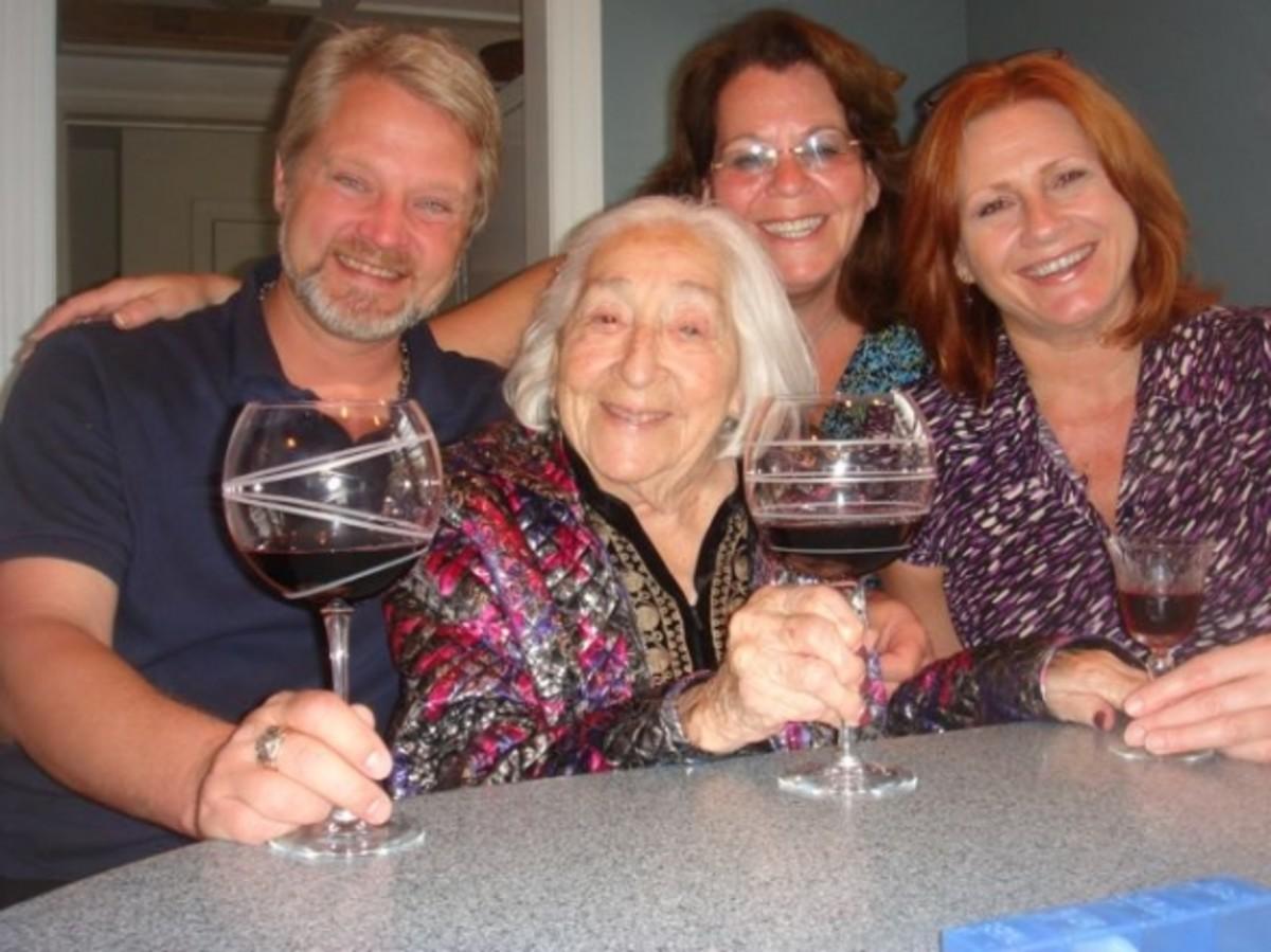 John, me, Bobbi and Gert enjoy a happy hour.