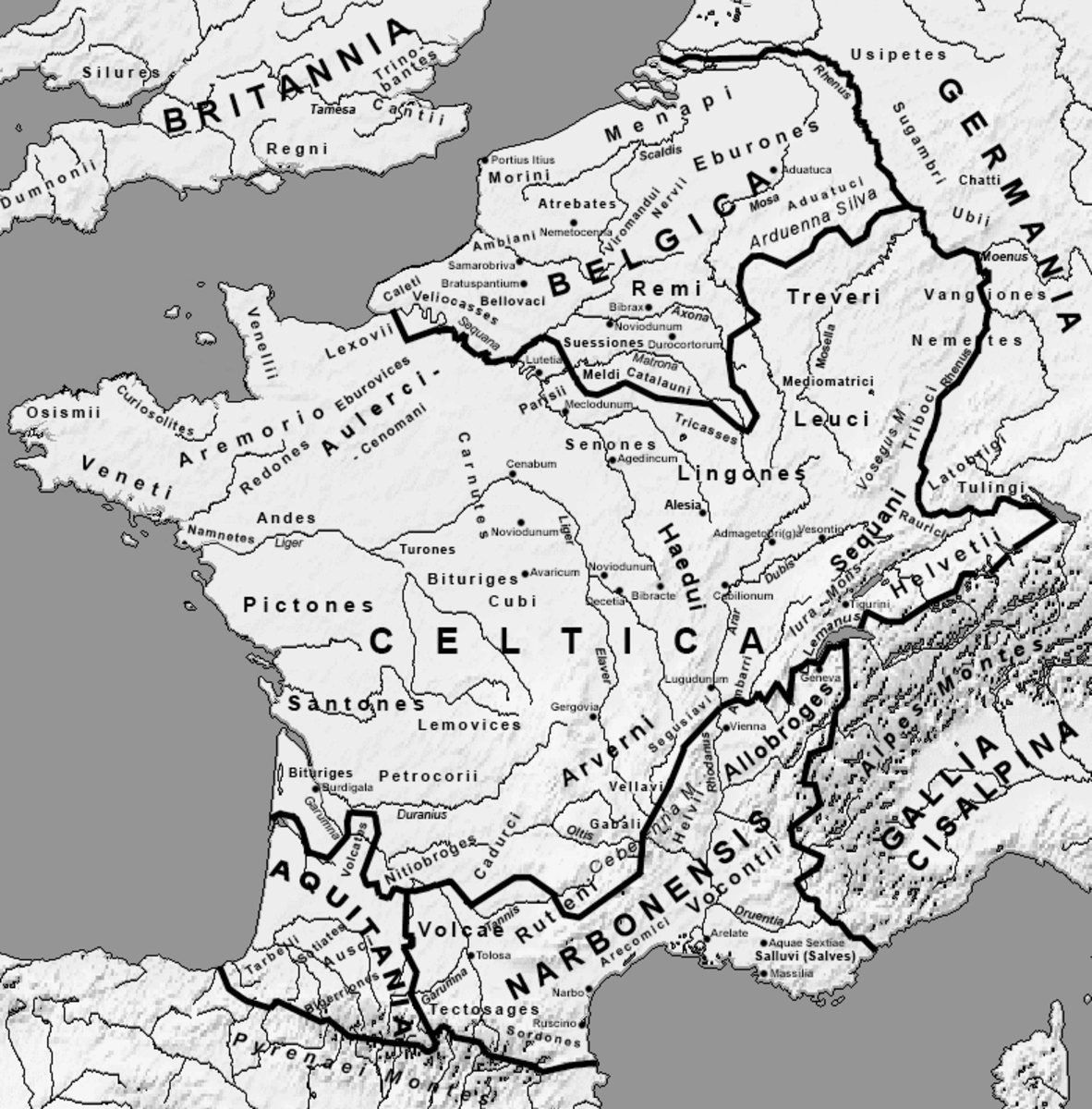 Roman map of Celtic territories in mainland Europe, circa 54 AD.