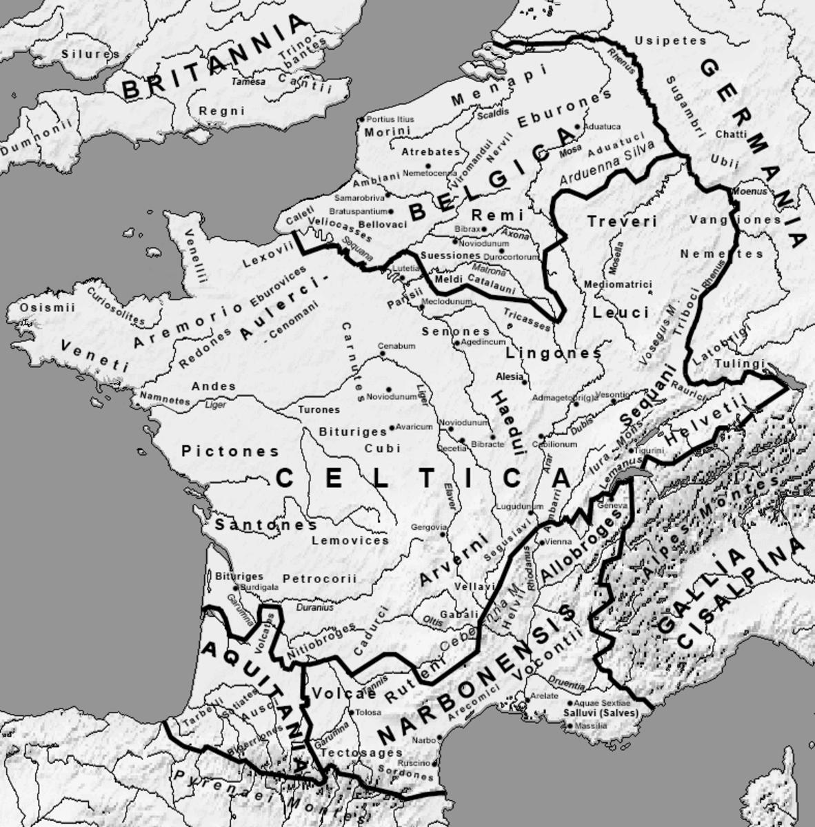 Roman map of Celtic territories in mainland Europe, circa 54 AD.