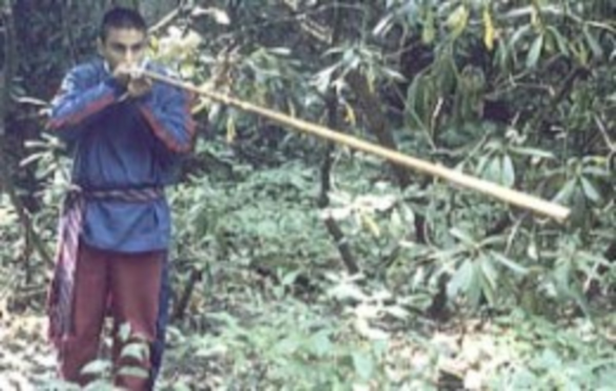 Blowgun used by Cherokee men in their traditional hunting grounds in the Appalachian Mountains of North Carolina.