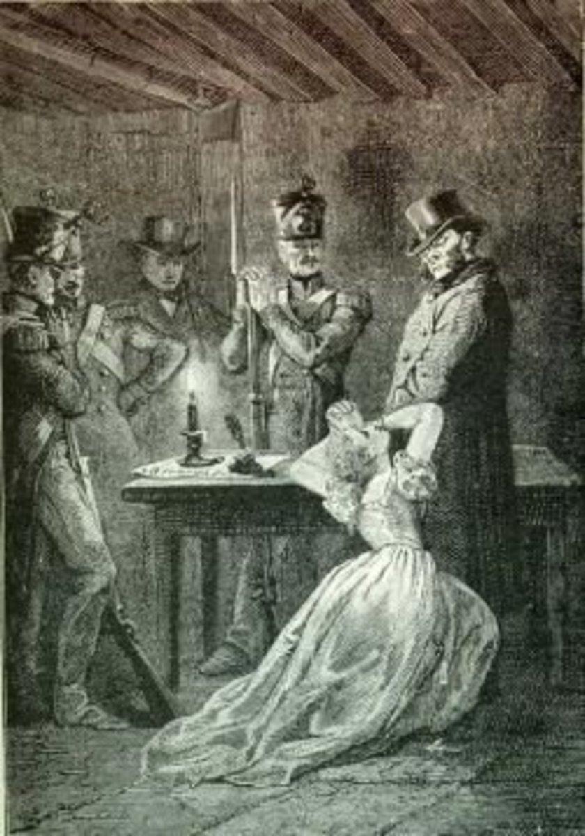 Fantine and Javert, illustration from Les Miserables