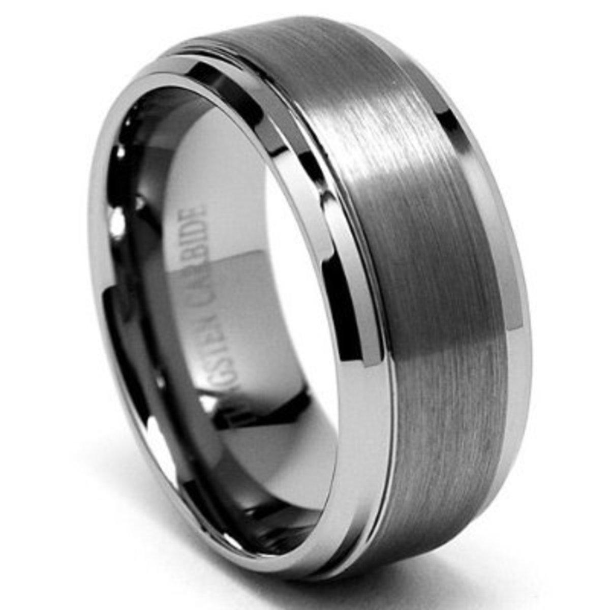 Metal Masters Co. 9MM High Polish / Matte Finish Men's Tungsten Ring Wedding Band