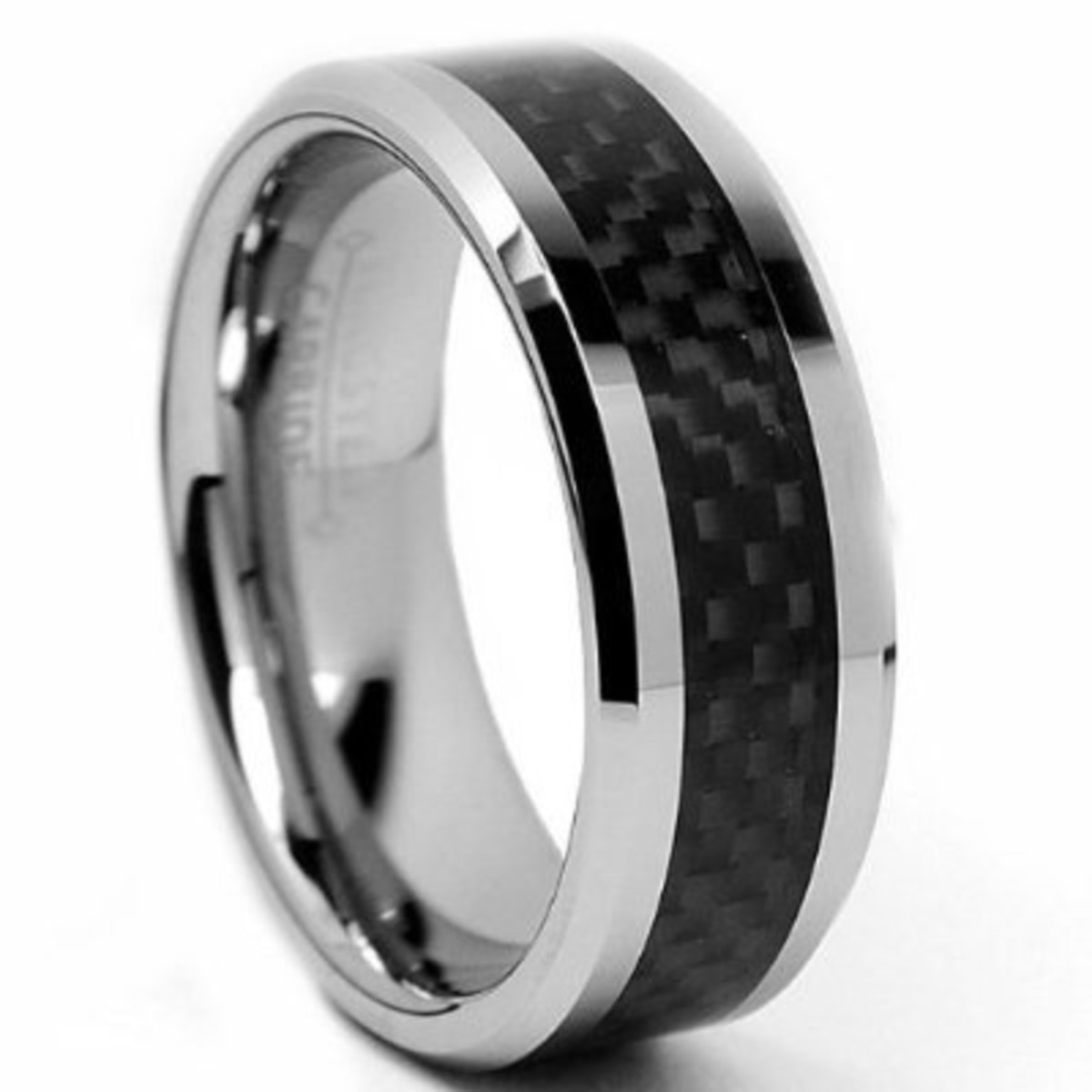 Metal Masters Co. 8MM Men's Tungsten Carbide Ring Wedding Band with Carbon Fiber Inlay