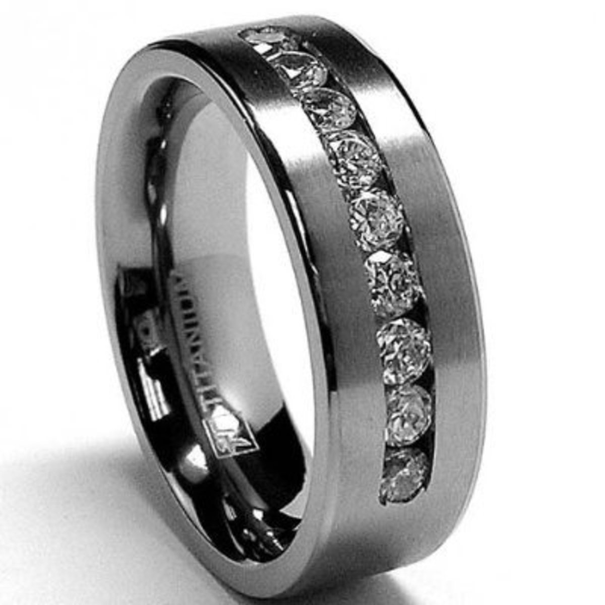 Metal Masters Co. 8 MM Men's Titanium ring wedding band with 9 large Channel Set