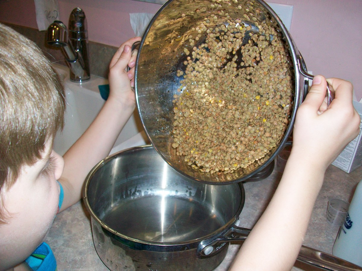 Put the lentils in a saucepan. It's more fun for your child to pour them in, but neater for you to do it.