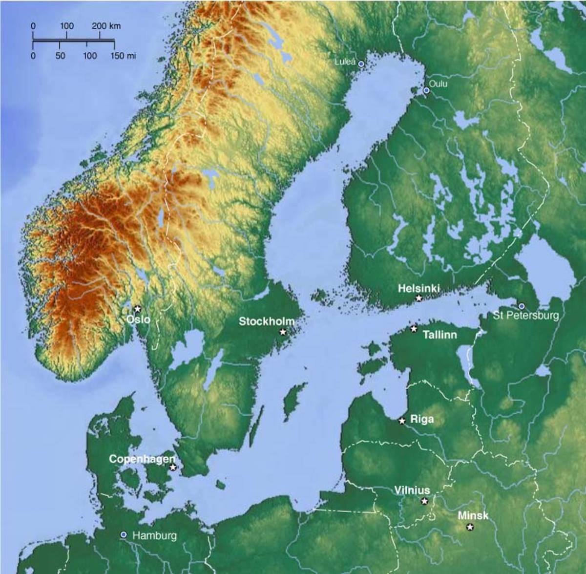 Topographic map of Scandinavia and the Baltic Sea showing the Gulf of Bothnia between Finnmark (Finland) and Sweden