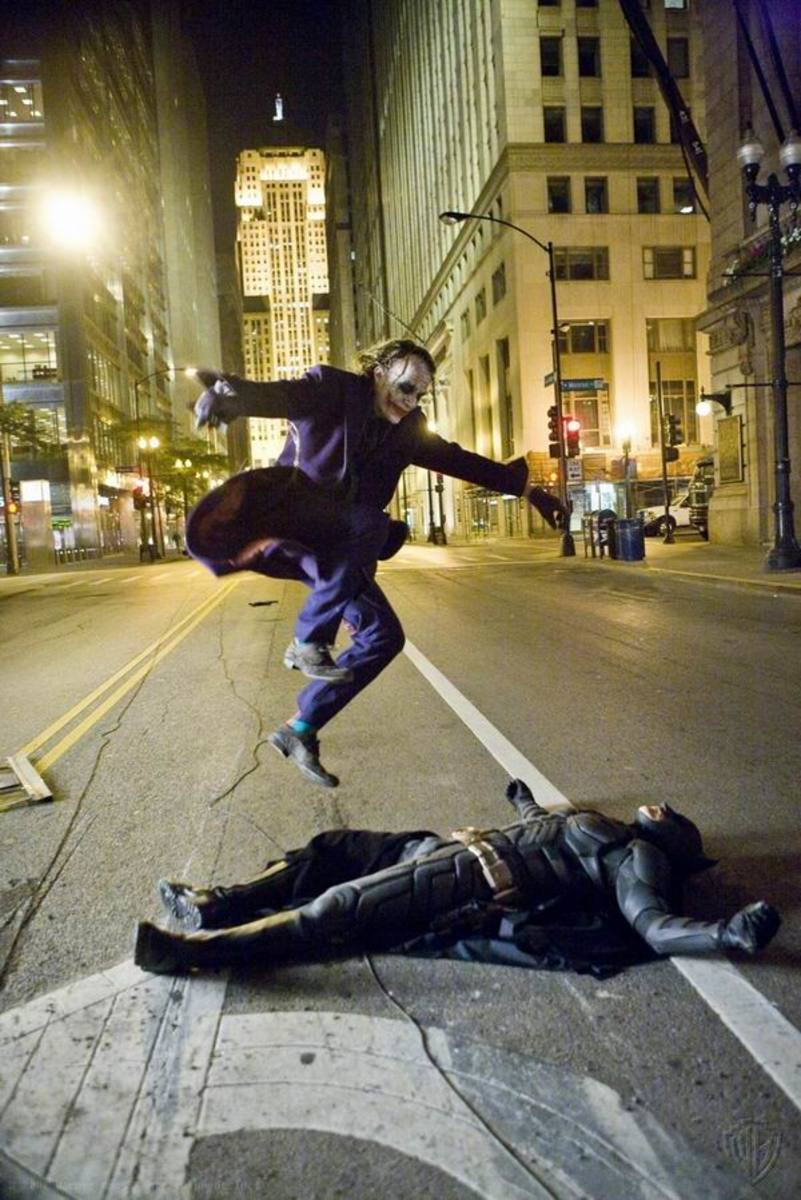 Heath Ledger and Christian Bale in The Dark Knight (2008)