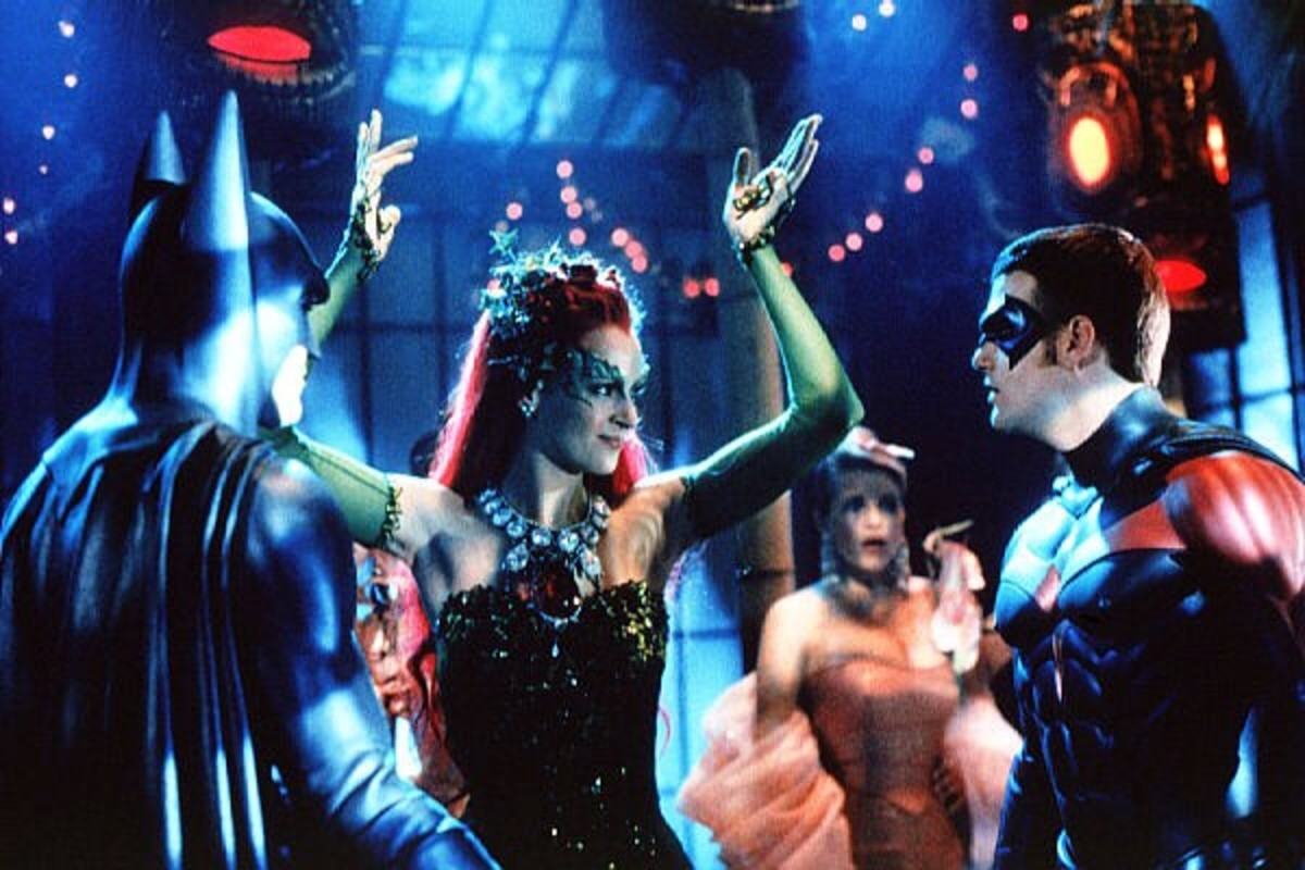 George Clooney, Uma Thurman and Chris O'Donnell in Batman & Robin (1997)