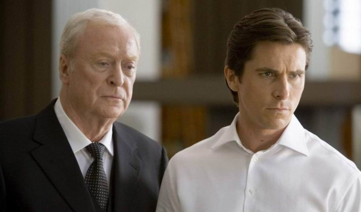 Michael Caine and Christian Bale in The Dark Knight (2008)