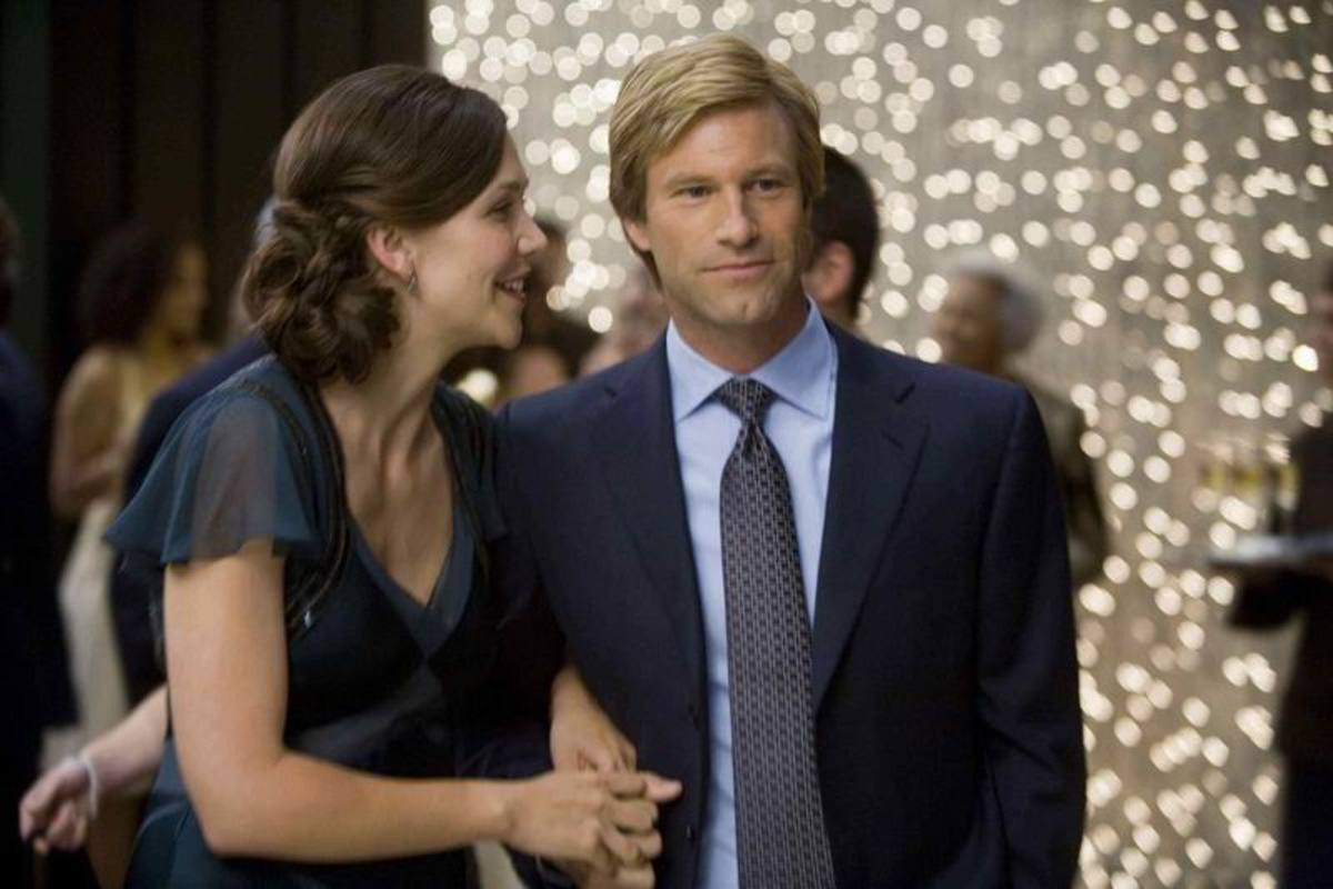 Maggie Gyllenhaal and Aaron Eckhart in The Dark Knight (2008)