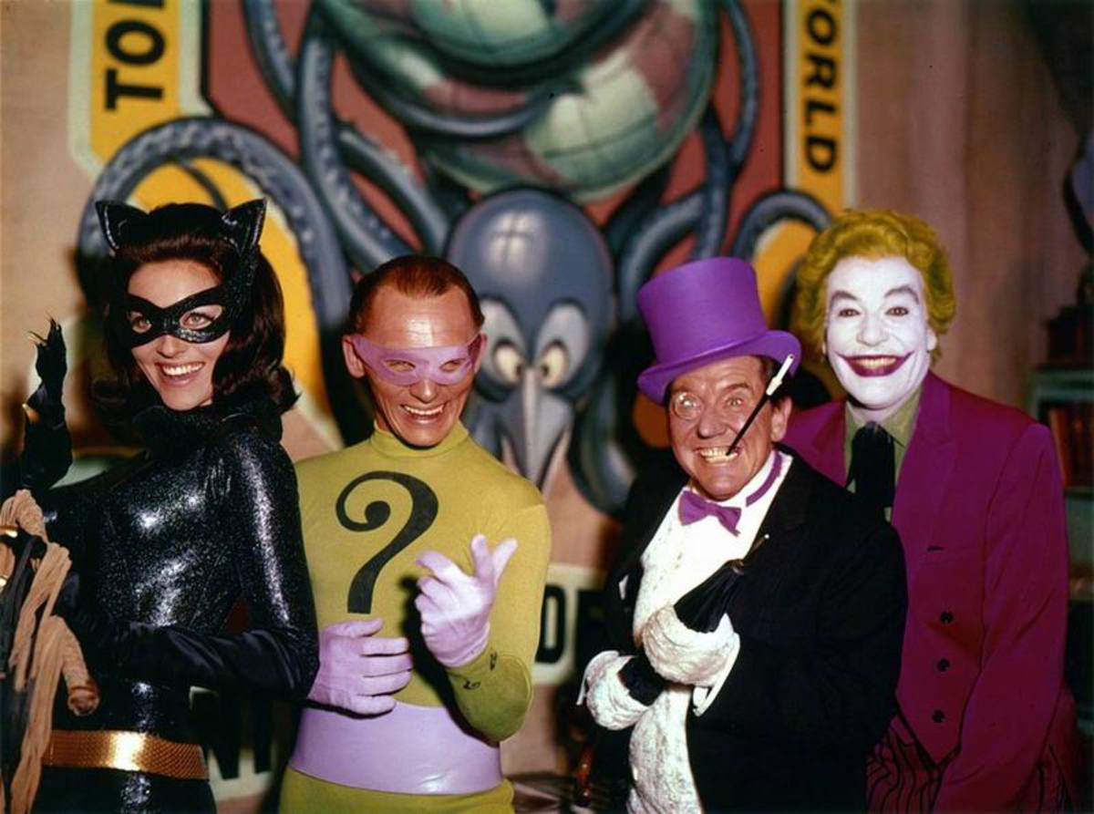 Lee Meriwether, Frank Gorshin, Burgess Meredith and Cesar Romero in Batman (1966)