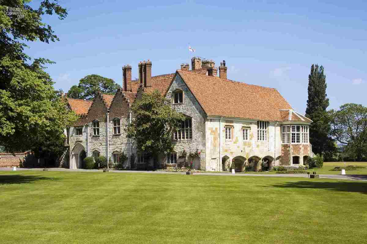 Ghostly Bisham Abbey is said to be cursed!  (Pronounced Bis-ham) from the word bis hamlet. bis meaning 2 and ham short for hamlet or small gathering of houses.