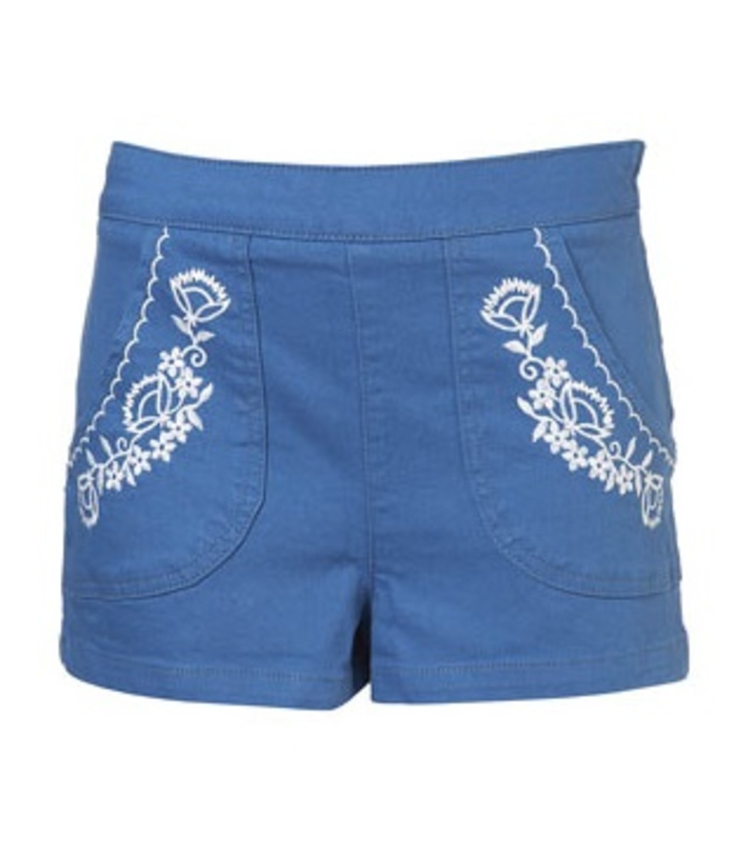 A high-waisted walking short beautified with south of the border style embroidery.