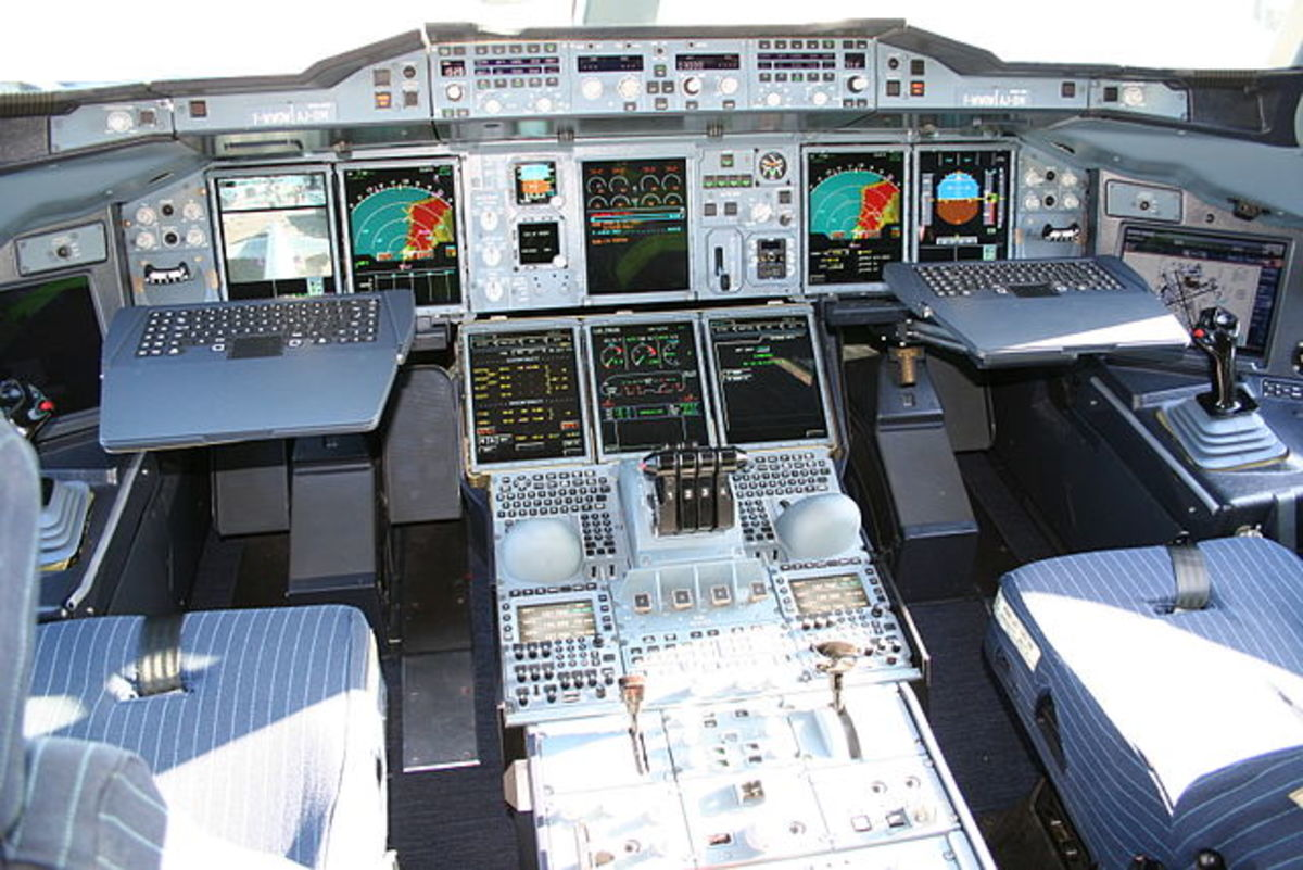 The cockpit of Airbus A380 showing the side-stick as the flight controller