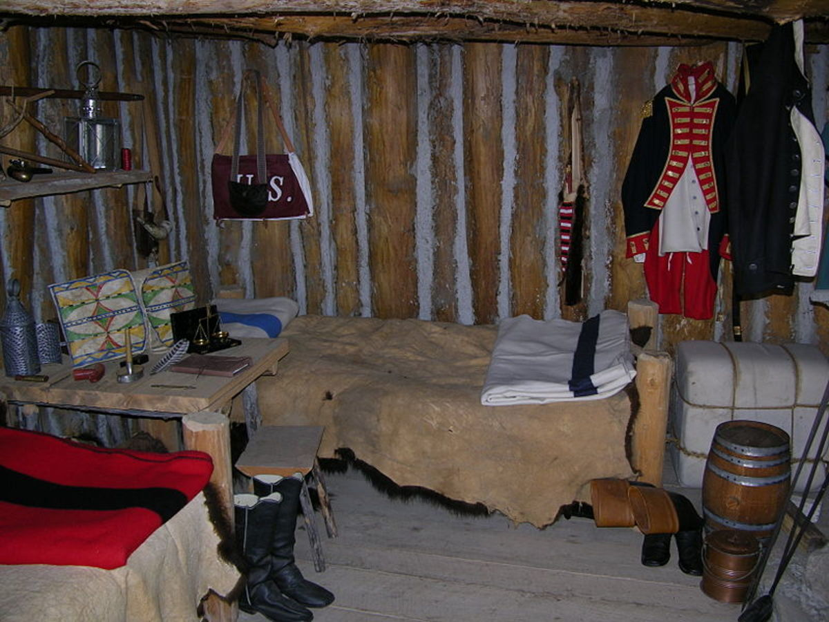 Lewis and Clark's room at the reconstructed Fort Mandan